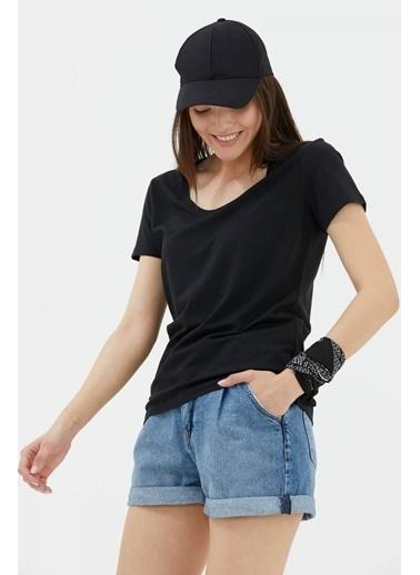 Sementa Açık Yaka Basic Tshirt - Siyah Siyah